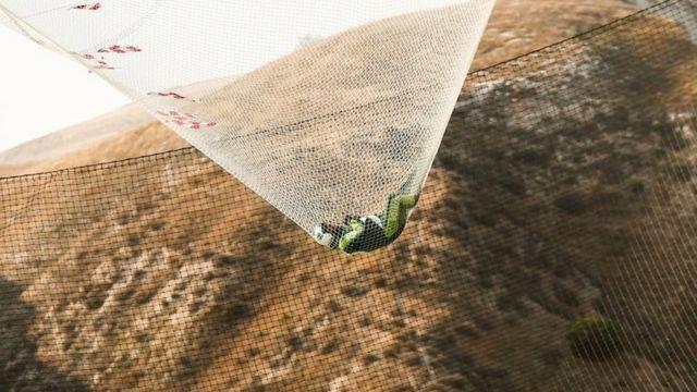 Skydiver Luke Aikins lands safely in the net. Photo: 30 July 2016