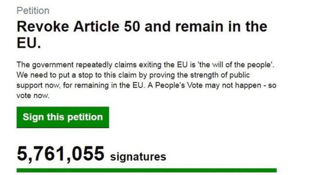 Brexit: Petition to revoke Article 50 to be debated next week