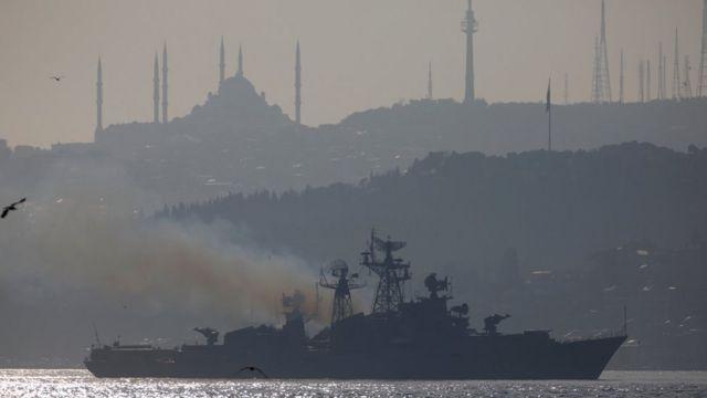 A Russian military ship sails the Bosphorus