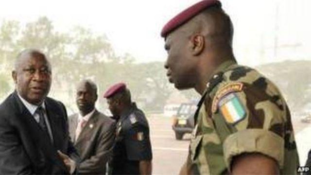 Le général Dogbo Blé en compagnie de Laurent Gbagbo