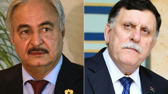 General Halife Hafter ve UKM lideri Fayez al-Sarraj