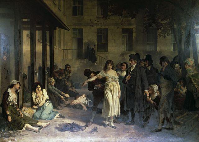 """Pinel liberando a las locas"" de Tony Robert-Fleury (1837-1911)."