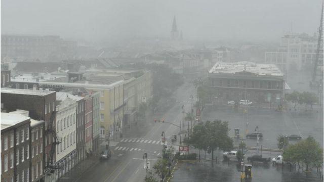 Una vista de las lluvias en Nueva Orleans