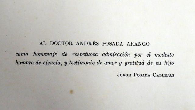Dedicatoria de Jorge Posada Callejas a su padre.