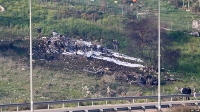 इसराइली लड़ाकू विमान का मलबा