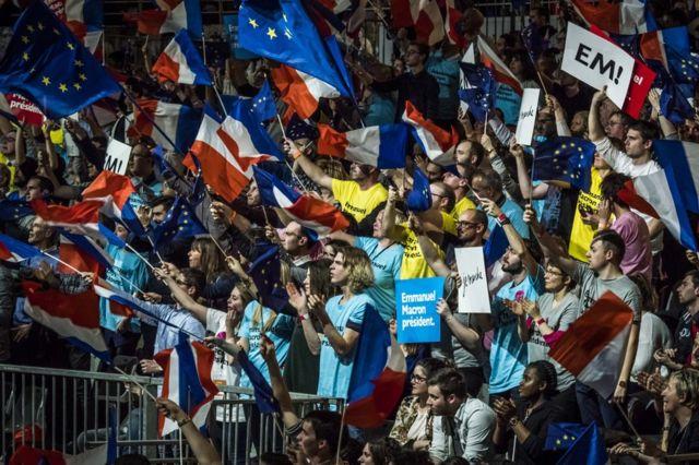 Emmanuel Macron supporters in Lyon, 4 February