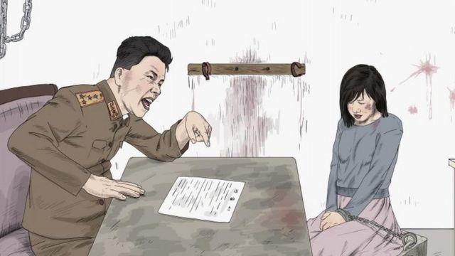 Ilustração de mulher sendo interrogada por policial