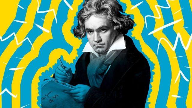 Beethoven rodeado de rayos