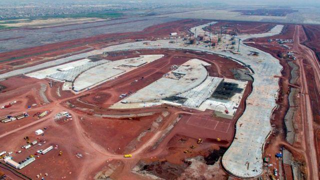 Obras del nuevo aeropuerto en Texcoco.