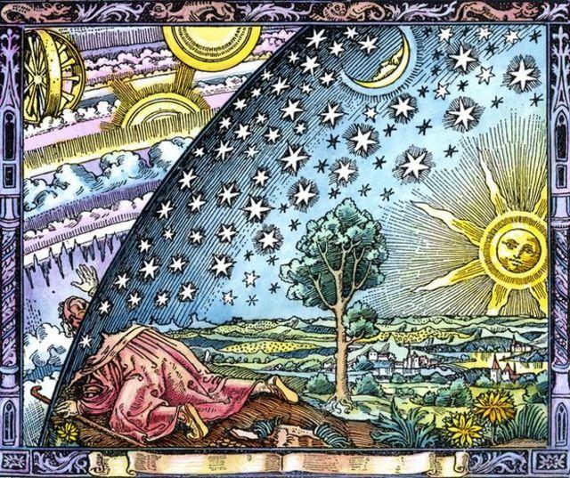 """De """"La Atmósfera"""" de Camille Flammarion, publicado en 1873, muestra a un peregrino observando la mecánica celestial."""