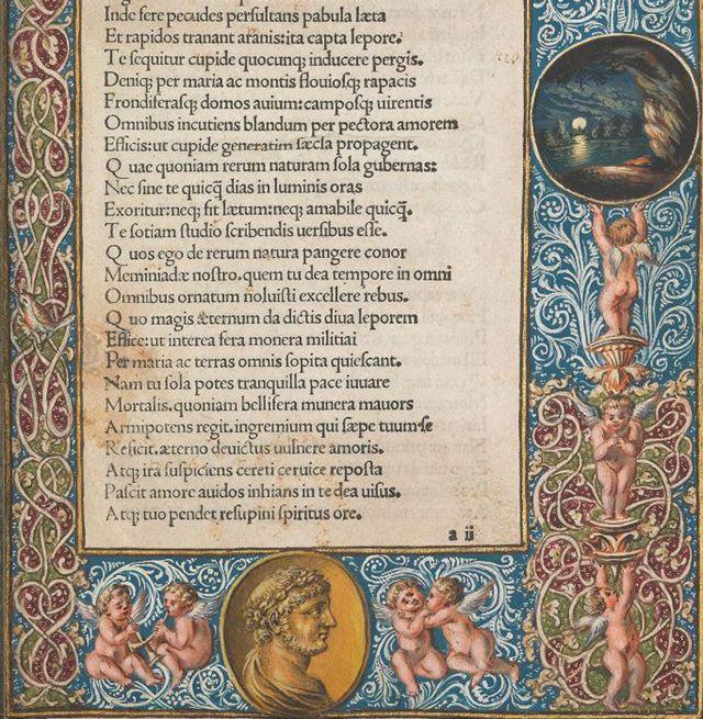 Parte inferior de la primera página del poema en edición iluminada de Paulus Fridenperger, 1486