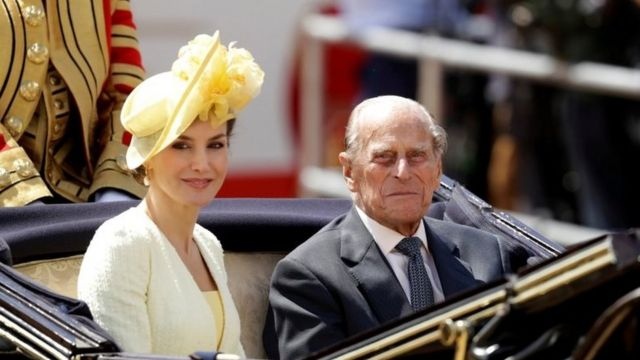 Prince Philip rides in a carriage with Spain's Queen Letizia, in 2017