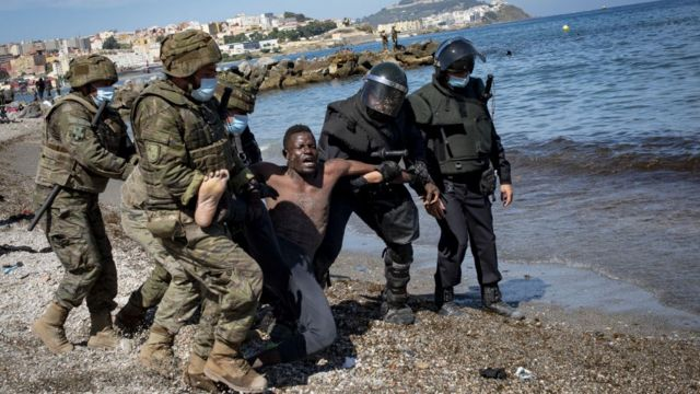 The Spanish government sent a significant number of soldiers to Ceuta to try to stop the flow of migrants and control the situation.