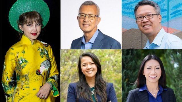 Từ trái, cử tri gốc Việt Jenny Đỗ, Thắng Đỗ, William Tuấn Nguyễn, Trâm Nguyễn và Madison Nguyễn