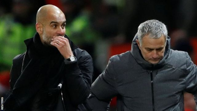 Manchester City manager Pep Guardiola (left) and Manchester United counterpart Jose Mourinho