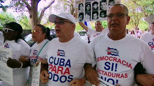 Cuban exiles protesting in Miami's Little Havana