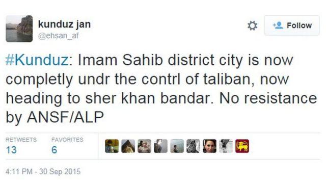 @ehsan_af tweeting that Imam Sahib district had fallen to the Taliban, a few days ago