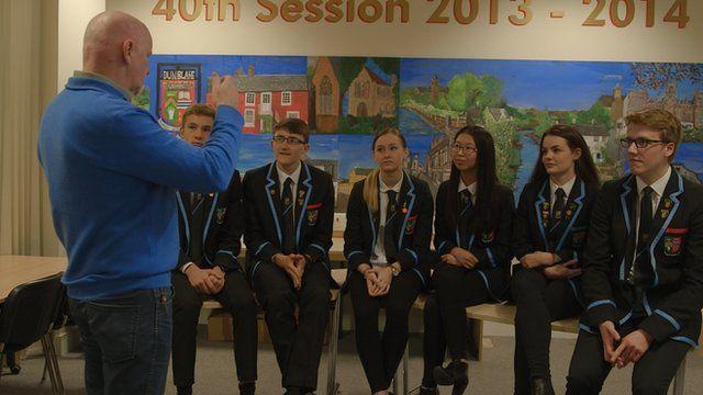 Sir Tom Hunter meets Dunblane High School students