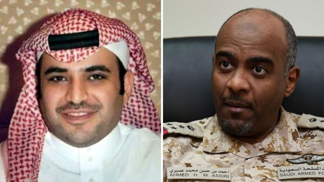 File photos of Saud al-Qahtani (left) and Ahmed al-Asiri (right)