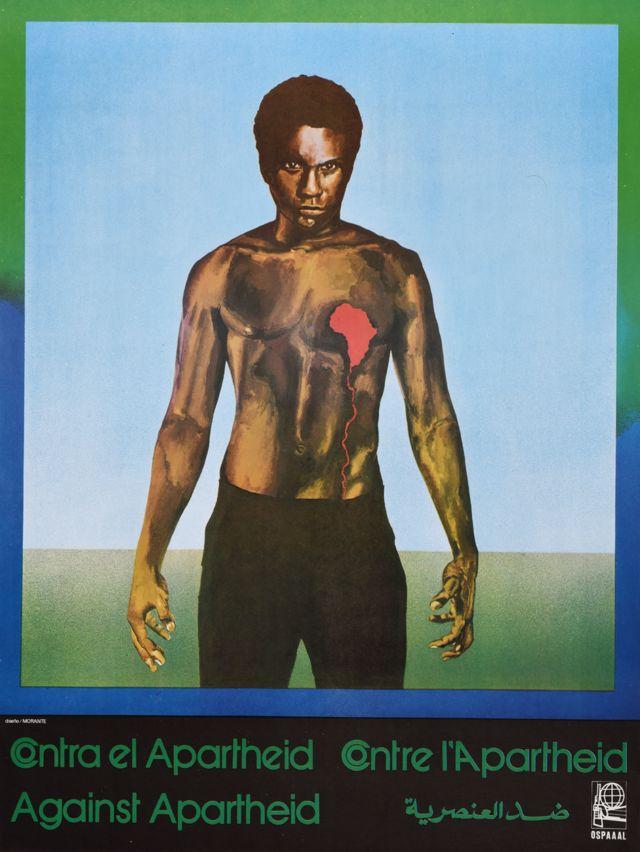 Une affiche Ospaaal intitulée Afrique du Sud - Contre l'apartheid, 1982, montrant un homme avec une poitrine d'ours et un cœur saignant en forme d'Afrique.