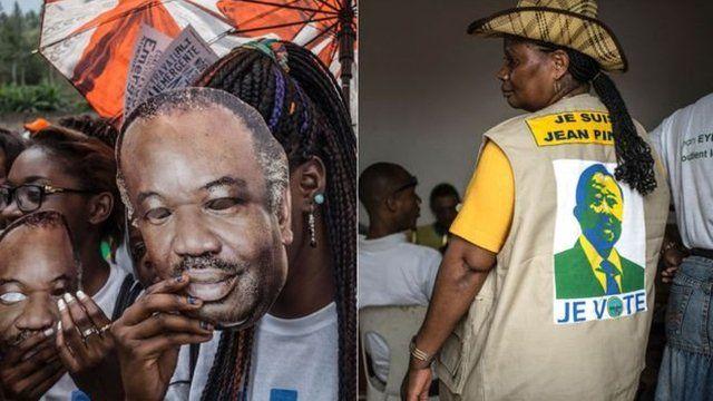 Des partisans d'Ali Bongo (à gauche) et des partisans de Jean Ping (à droite).
