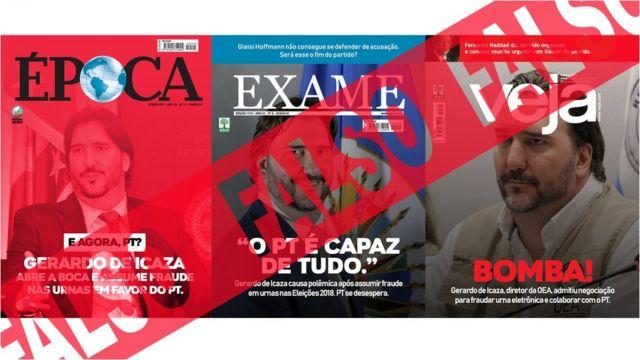 Capas de revistas da imprensa tradicional falseadas em mais uma montagem - Épóca, Exame e Veja