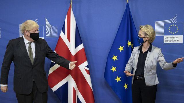 英国首相约翰逊和欧盟委员会主席冯德莱恩为达成协议做最后的努力