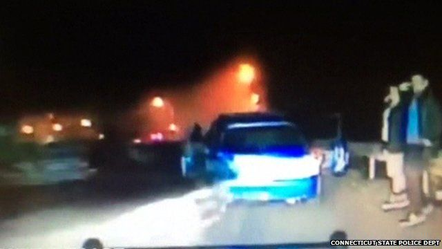 Dashboard camera shot of car ploughing into back of second