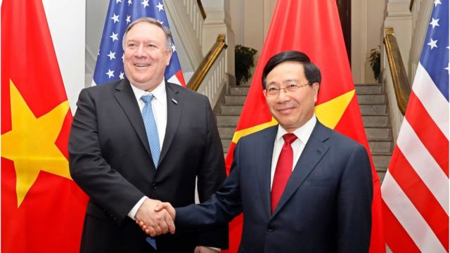 Ông Mike Pompeo và ông Phạm Bình Minh trước thềm thượng đỉnh Mỹ-Bắc Hàn lần hai tại Việt Nam năm 2019