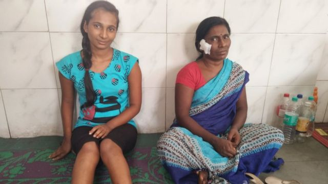 Rupali Meshram and her mother 10 days after the attack