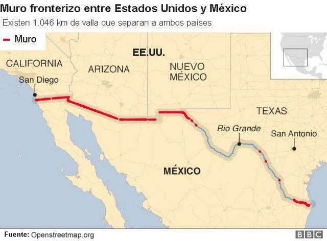 Muro en la frontera de México