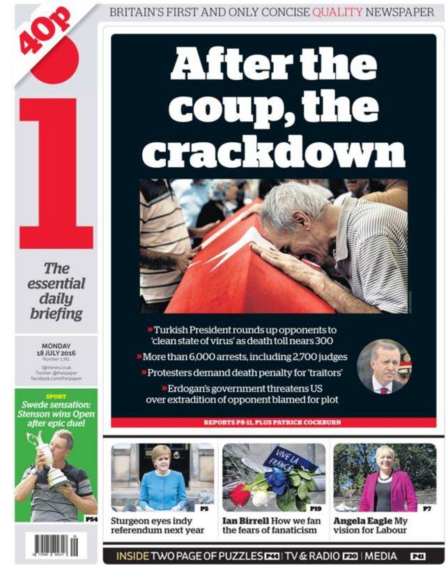 i gazetesi 18 Temmuz birinci sayfası