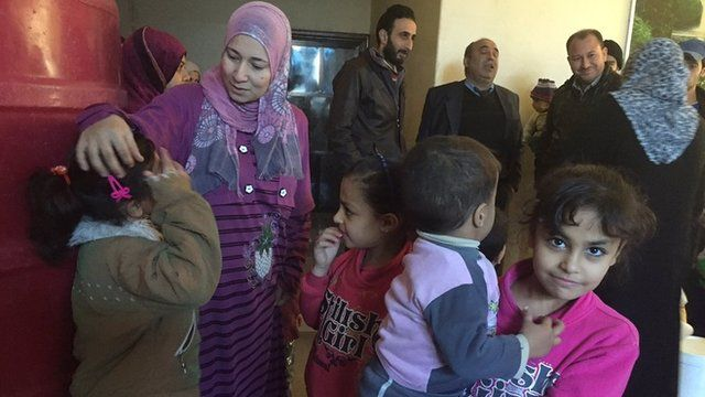 Displaced Syrian family