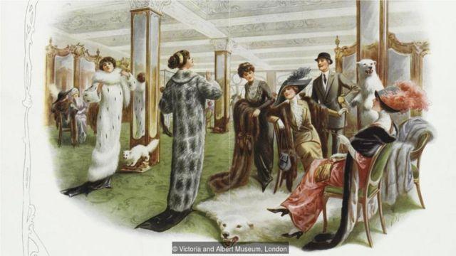 """这是一幅1901年至1914年间在英国发布的平面广告,名为""""伦敦时尚皮草城"""",反应当时动物皮草广受追捧。(Credit: Victoria and Albert Museum, London)"""