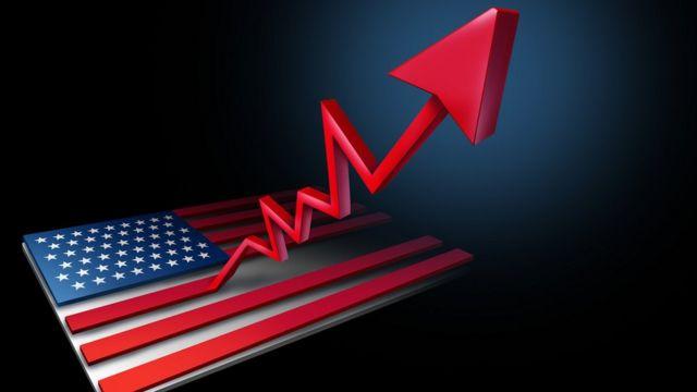 Gráfico al alza partiendo de la bandera de EE.UU.