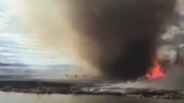 Fire tornado in Canada.