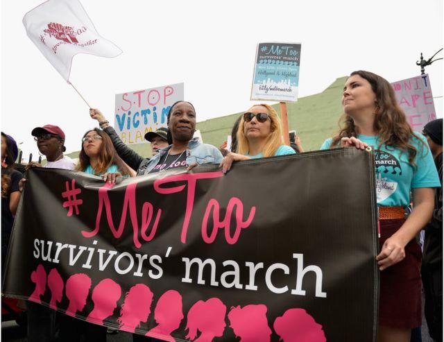 全美各地的妇女游行中,#Metoo的标语随处可见。