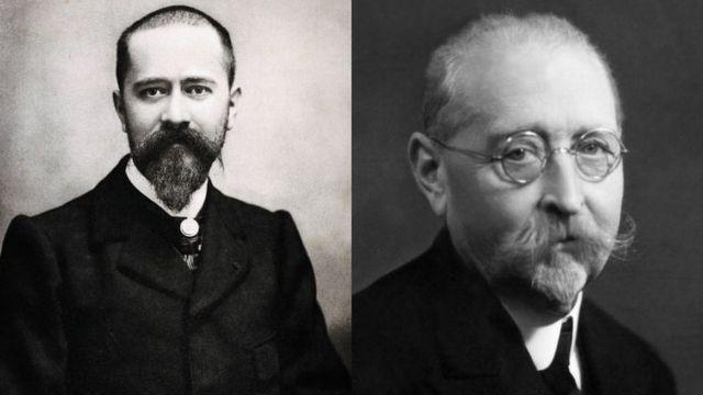 Fotos dos cientistas Albert Calmette (à esquerda) e Camille Guérin (à direita)