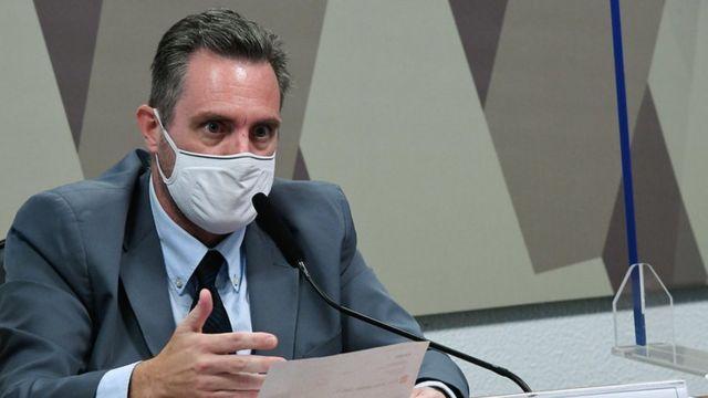 Luiz Paulo Dominguetti durante depoimento à CPI