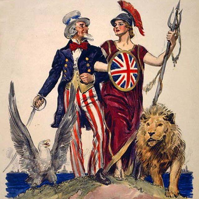 """Detalle del afiche """"Side by side - Britannia! Britain's Day Dec. 7th 1918"""", con dibujos de James Montgomery Flagg. Creado en 1918 por la American Lithographic Co. N.Y."""
