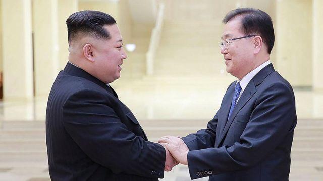 韓国の特使団は5日、平壌で金委員長と歴史的な会談を行った