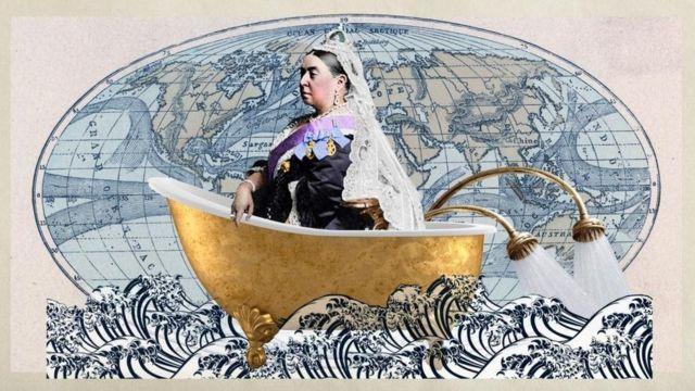 Ilustração com a rainha Victoria em uma banheira sobre o mapa mundi