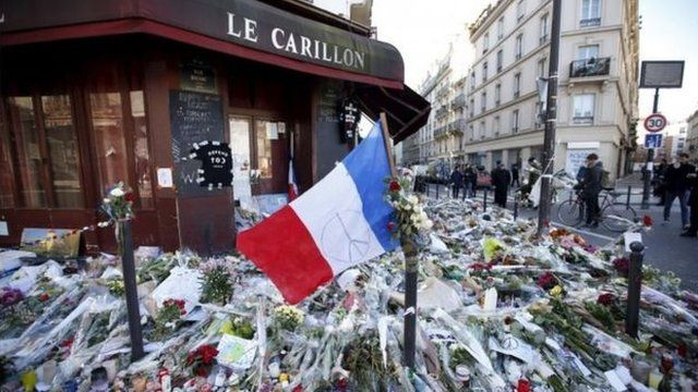 Flowers outside Le Carillon restaurant scene of one of the shooting on Nov 13th