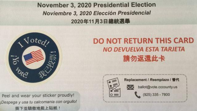Phiếu bầu cho tổng tuyển cử 3/11 đã gửi đến nhà cử tri ở California