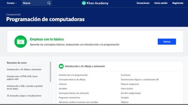 Reprodução do site da Khan Academy