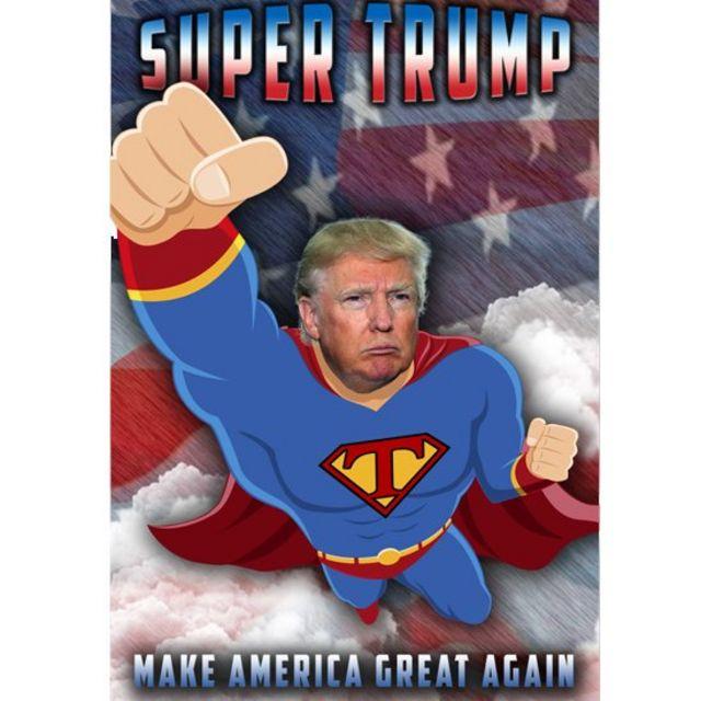 Cartel con imagen de Trump vestido como Superman