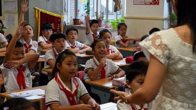 ચીનની શાળામાં ભણતાં બાળકોની તસવીર