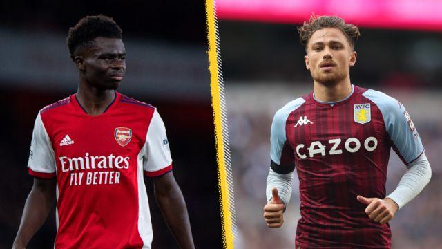 Arsenal's Bukayo Saka and Aston Villa's Matty Cash