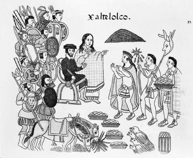 La imagen muestra a una mujer y varios hombres alrededor, sosteniendo artículos como comida y armas.