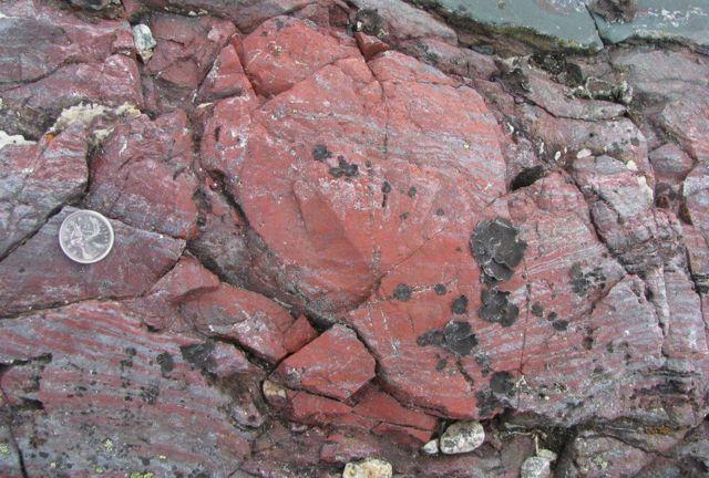 Так можуть виглядати скам'янілі залишки найдавнішого життя - у цьому червонуватому камінні містяться сліди одних з перших мікроорганізмів